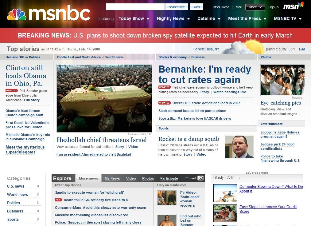 Msnbc home page change