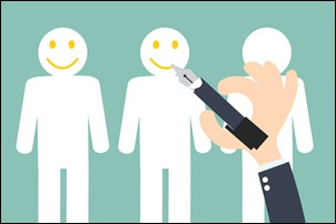 Hand writing Smiley on the Customer  - Customer Retention